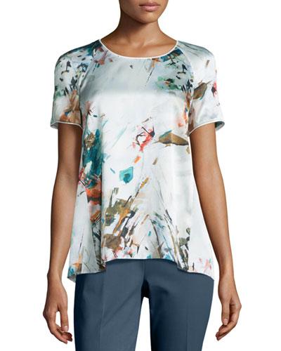 Kate Short-Sleeve Printed Blouse
