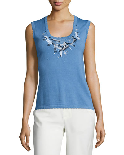 Scoop-Neck Embroidered Tank, Liberty Blue