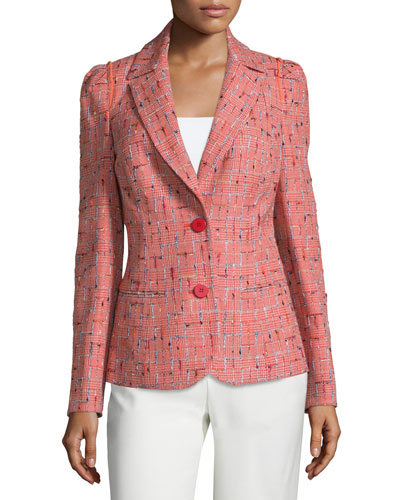 Two-Button Fitted Jacket, Multi/Orange