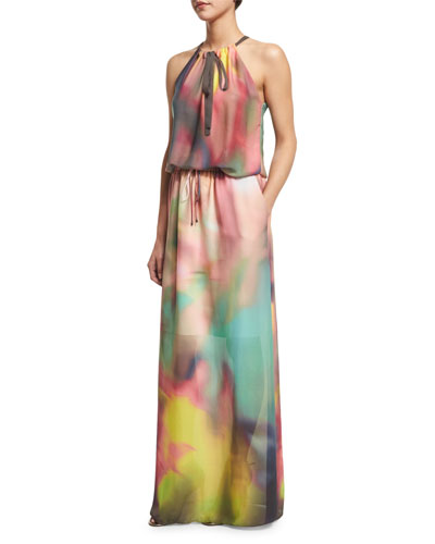 York Sleeveless Watercolor Maxi Dress, Multi Colors