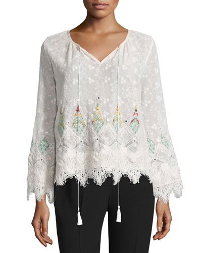 Imelda Long-Sleeve Embroidered Blouse, Natural
