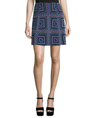 Patchwork A-Line Mini Skirt, Black/Multi