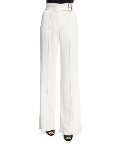 Madeline Belted Crepe Wide-Leg Pants, White