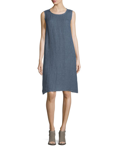Palmer Sleeveless Linen Dress with Fringe Trim