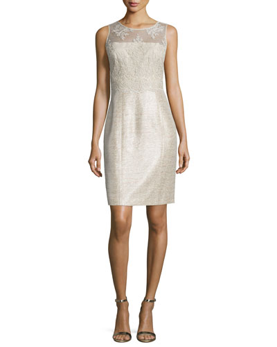 Sleeveless Embroidered Shimmery Sheath Cocktail Dress