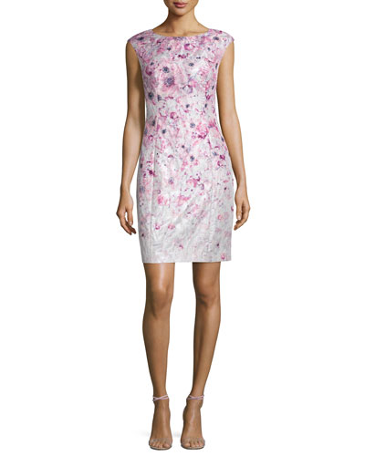 Cap-Sleeve Floral-Printed Cocktail Sheath Dress
