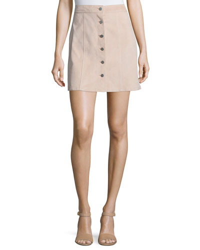 Sinall L Benna Suede Button-Front Skirt