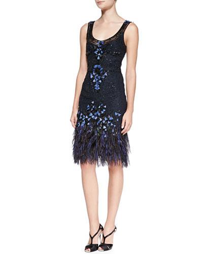 Embellished Feather Crepe Dress