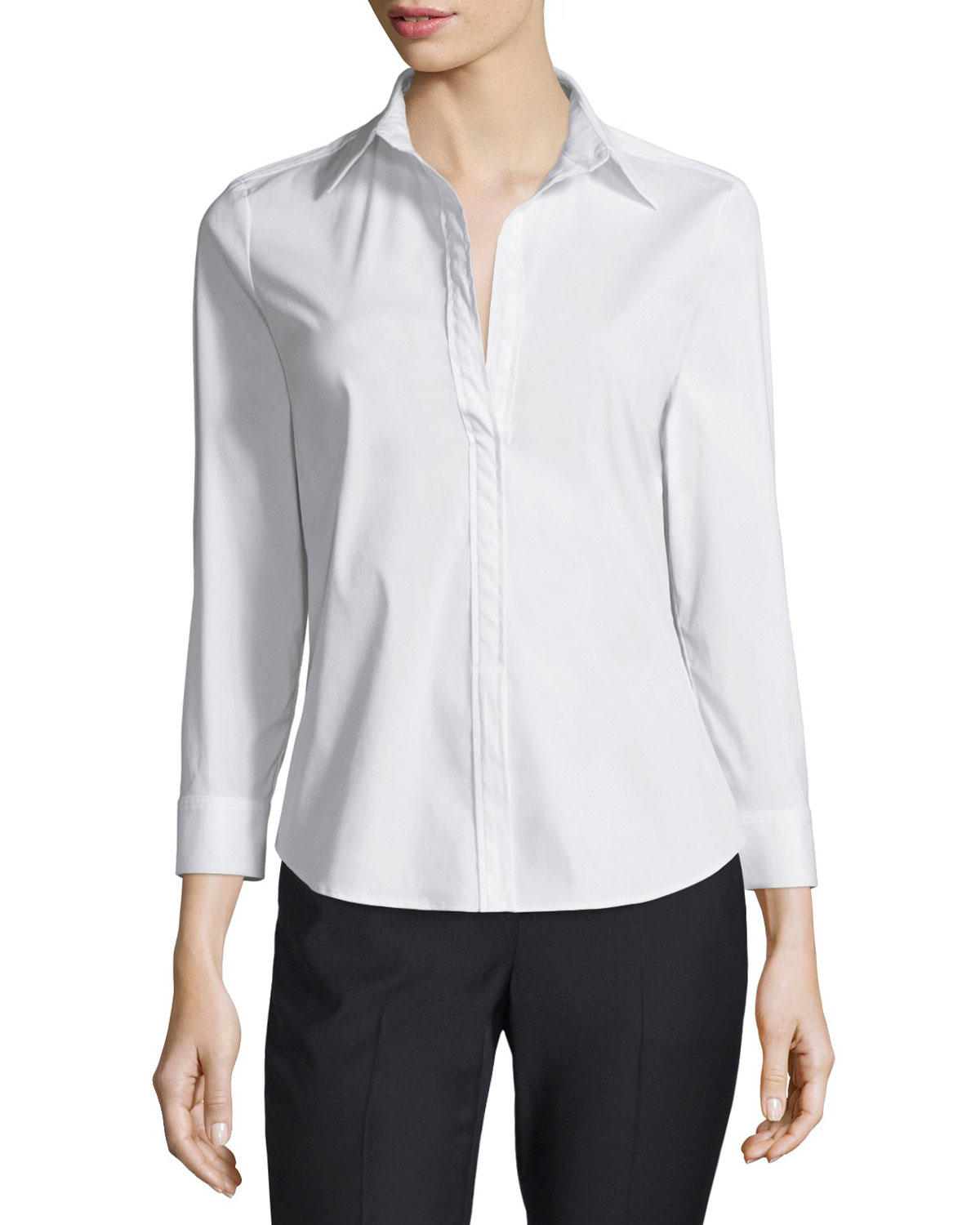 Joklann Long-Sleeve Luxe Shirt, White