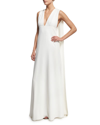 Sleeveless V-Neck Cape Gown
