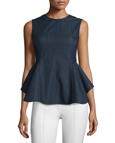 Kalsing D Spring Peplum Top, Dark Denim
