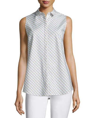 Nadi Sleeveless Check-Print Blouse, Khaki/Multi