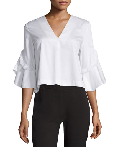 Half-Sleeve V-Neck Cotton Top, White