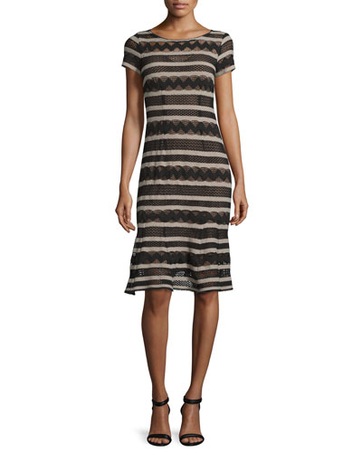Short-Sleeve Chevron-Striped Dress, Black/Camel