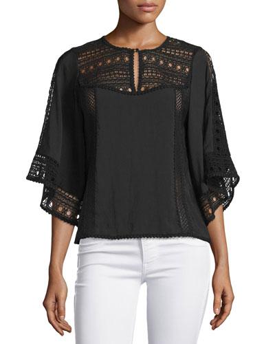 Flutter-Sleeve Crochet-Inset Top, Black