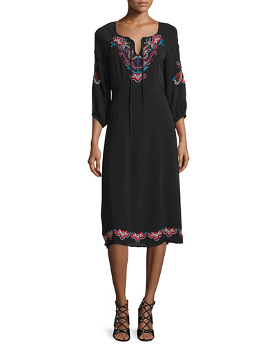 3/4-Sleeve Midi Dress with Embroidery