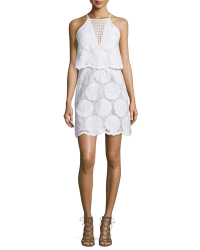 Sunflower-Lace Tiered Mini Dress, White