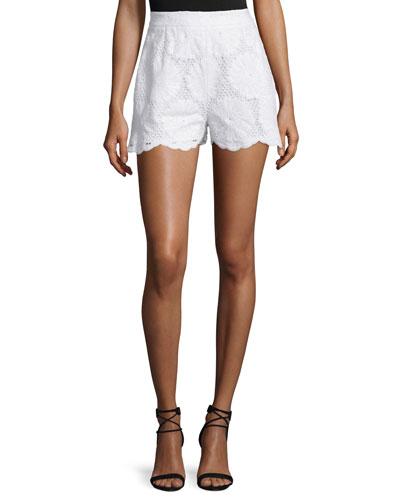 High-Waist Sunflower-Lace Shorts, White