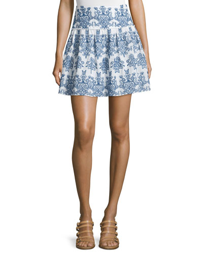 Embroidered Mini Skirt, White/Blue