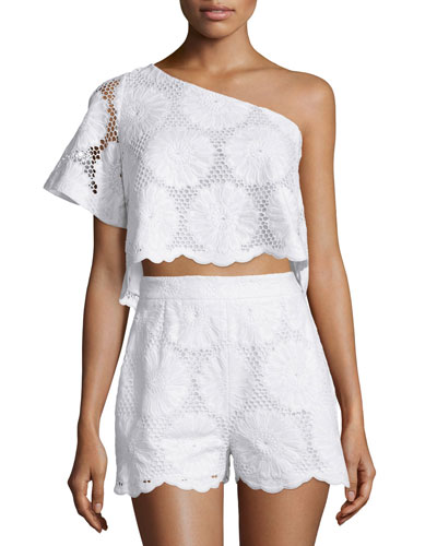 One-Shoulder Sunflower-Lace Crop Top, White
