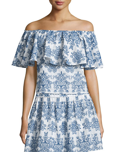Off-The-Shoulder Embroidered Top, Blue/White