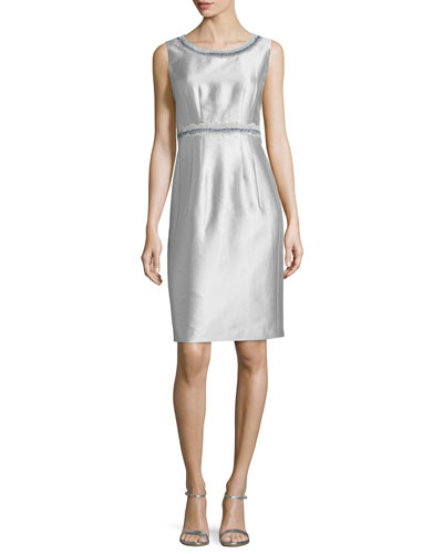 Sleeveless Sheath Dress W/ Embellished Trim