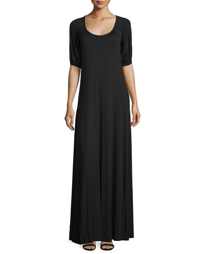 Kristi Scoop-Neck A-line Jersey Maxi Dress