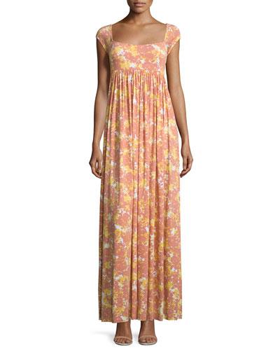 Isa Cap-Sleeve Printed Long Dress