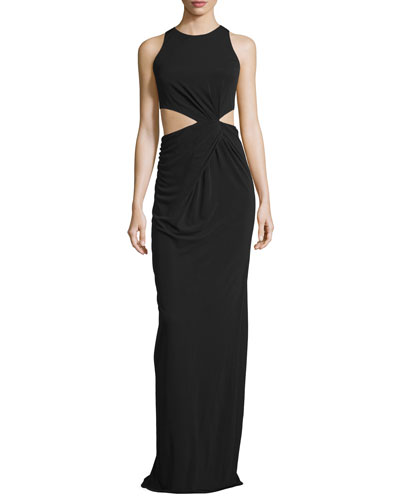 Sleeveless Cut-In Ruched Column Gown