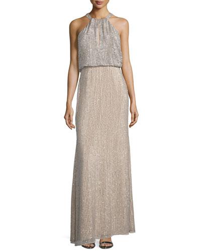 Marceline Beaded Blouson Column Gown, Blush