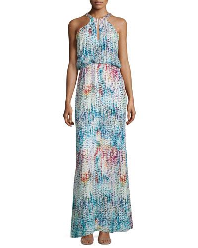 Marceline Printed Silk Blouson Column Gown