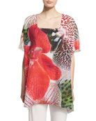 Short-Sleeve Tropical Orchid-Print Caftan, Plus Size
