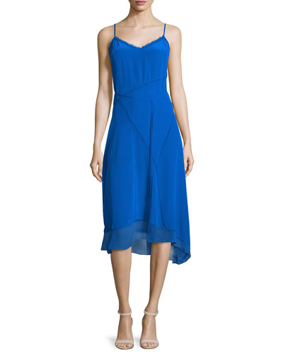 Shirley Sleeveless Asymmetric-Hem Dress, Oasis