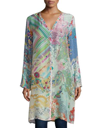 Garden Printed Long Cardigan, Plus Size