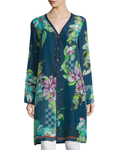 Garden Floral-Print Long Cardigan, Plus Size