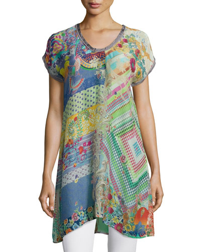 Alyssa Short-Sleeve Printed Tunic, Plus Size
