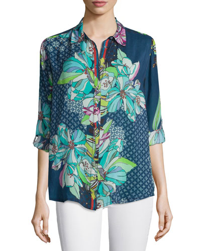 Kay Long-Sleeve Button-Front Printed Blouse, Plus Size