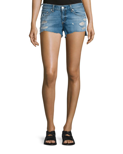 Cutoff Distressed Denim Shorts, Gunner