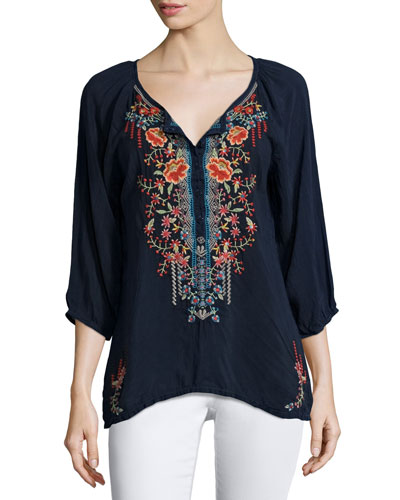 Olivia 3/4-Sleeve Embroidered Blouse