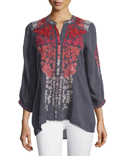 Blooming Ombre Embroidered Blouse, Plus Size
