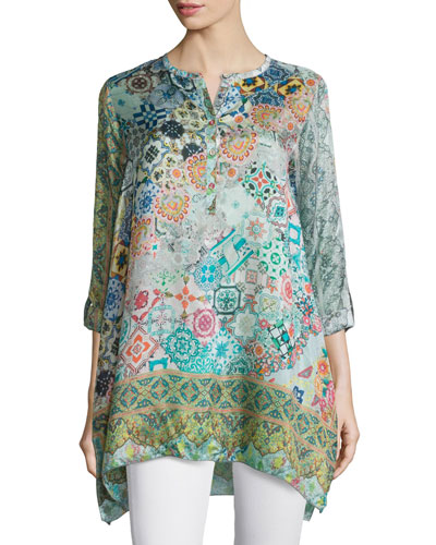 Jessner Tab-Sleeve Long Blouse