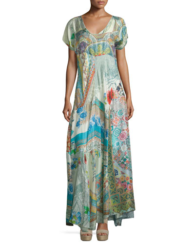 Leyla Short-Sleeve Printed Maxi Dress