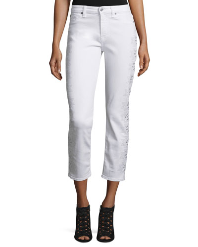Kimmie Embroidered-Outseam Cropped Jeans, White