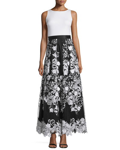 Sleeveless Combo Floral-Skirt Dress