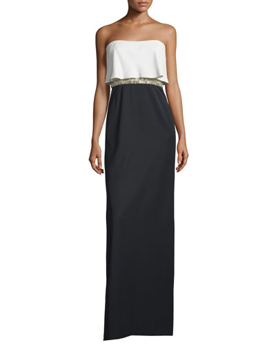 Strapless Popover Beaded-Waist Gown