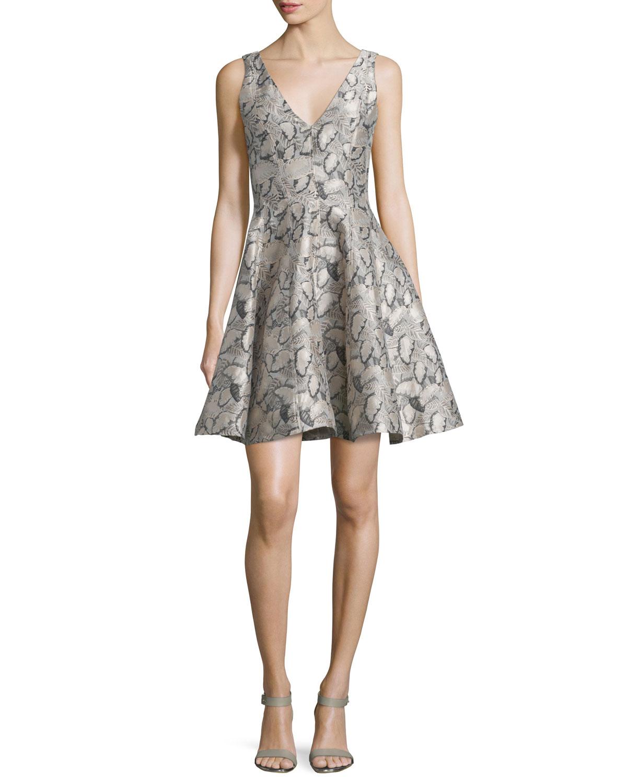 Sleeveless Printed Party Dress, Blush Pink/Multi