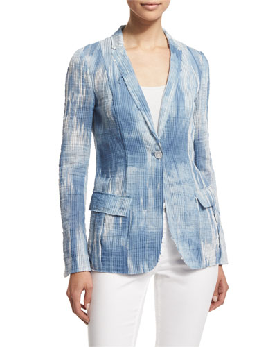 Tova One-Button Jacket, Light Denim/Multi