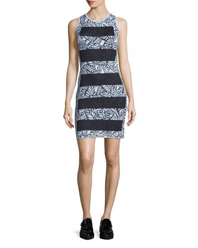 Sleeveless Wide-Stripe Sheath Dress, Mist Blue/Multi