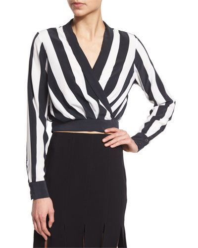 Long-Sleeve V-Neck Striped Crop Top, Stripe Print