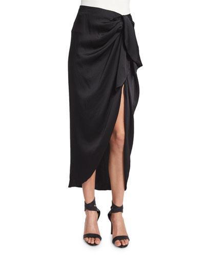 Waist-Tie Silk Midi Skirt, Black